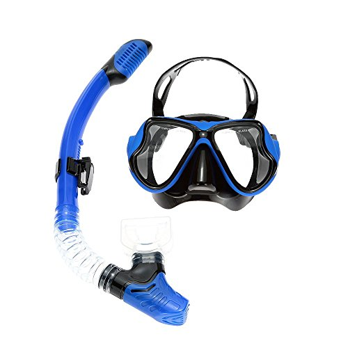 - Adult Scuba Snorkeling Swimming Set Anti-Fog Tempered Glass Diving Mask Goggles + Silicone Full Dry Snorkel Tube Blue