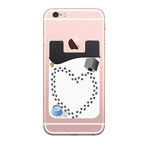 (ZninesOnhOLD Puppy Love Heart Shaped Trail of Paw Prints Bone Kennel Water Drops Cell Phone Card Wallet Phone Card Pocket for iPhone Android Samsung Galaxy 2 PCS)