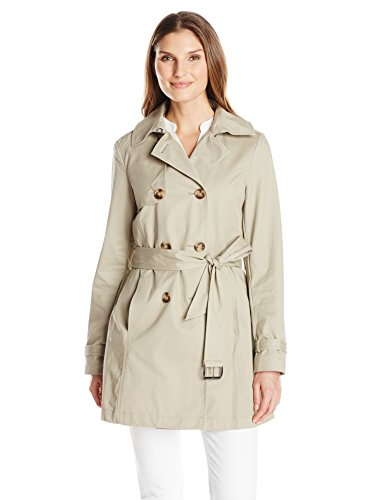 T Tahari Women's Fit and Flare Trench with Eyelit Back, Taupe, Small