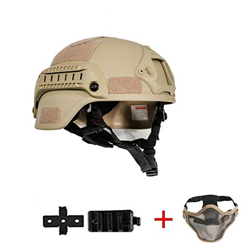 iMeshbean MICH 2000 Style ACH Tactical Helmet with NVG Mount and Side Rail Adjustable Sponge Padding Adjustable Suspender Straps Airsoft Half Mask as Gift