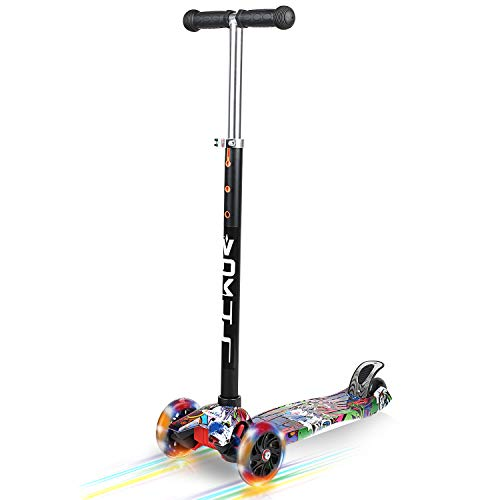 VOKUL 3 Wheel Mini Kick Scooter with LED Flashing Wheels for Age 3+