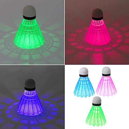 Forgun 3pcs LED Luminous Badminton Dark Night Colored Plastic Foam Glowing Shuttlecocks
