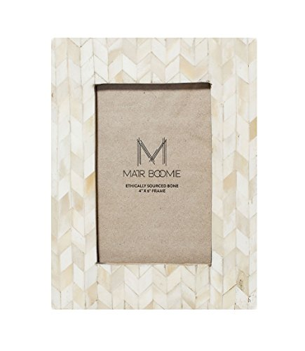 Matr Boomie Handmade Hand Carved Bone Tabletop Wall Picture Photo Frame (White, 4x6)
