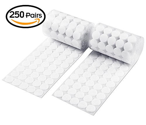 Heze 500pcs (250 Pair Sets) 20mm Diameter Sticky Back Coins Hook & Loop Self Adhesive Dots Tapes (white) (Dot Stick)