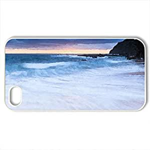 BEACH SUNRISE - Case Cover for iPhone 4 and 4s (Beaches Series, Watercolor style, White)
