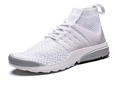 Kanarder Men's Walking Shoes Athletic Casual Mesh Comfortable High-Top Sneaker White