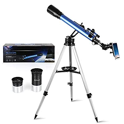 TELMU Astronomical Refractor Telescope 60mm Aperture & 700mm Focal Length Adjustable(27.5In-46.5In) Portable Travel Telescopes for Kids and Adults with Phone Adapter