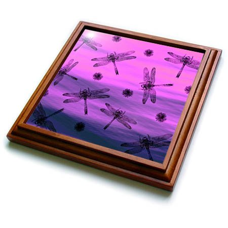 3dRose trv_262309_1 Black Dragonflies and Seeds on Purple and Blue Background Trivet with Tile, 8 by 8''