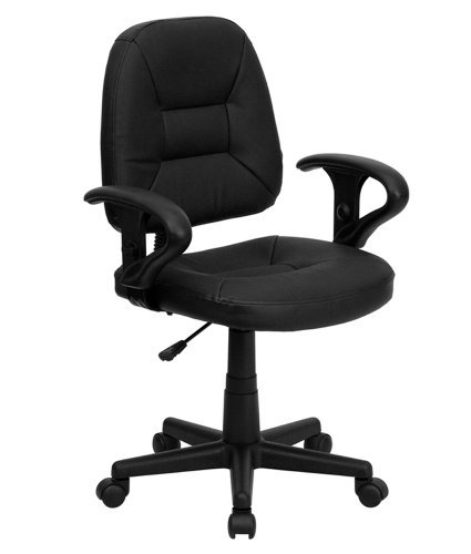 Flash Furniture BT-682-BK-GG Mid-Back Black Leather Ergonomic Task Chair with Arms by Flash Furniture