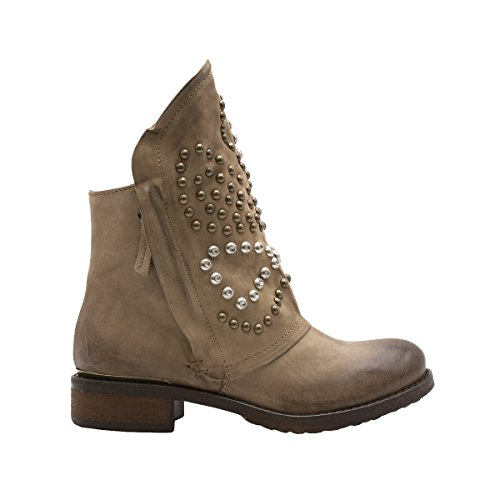 8100 Melrose Italian Ankle Boot W/Bronze & Silver Studs Beige m02G5oB