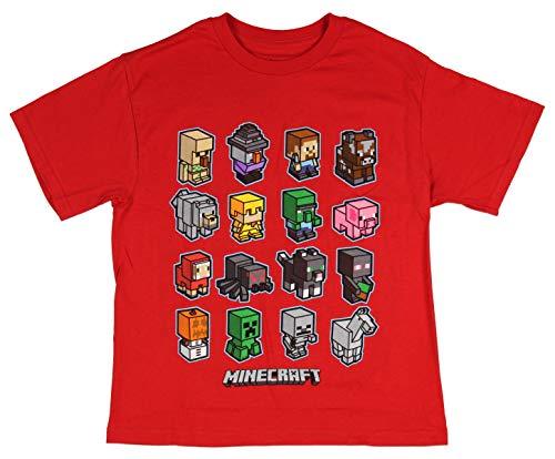 Mojang Minecraft Boys' Short Sleeve Mini Mob Graphic T-Shirt,Red,8 for $<!--$19.99-->