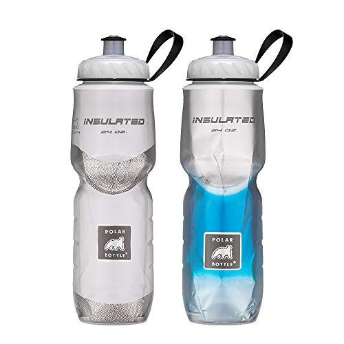 07b8602940 Polar Bottle Insulated Water Bottle 24oz (2 Pack), White/Blue Fade,