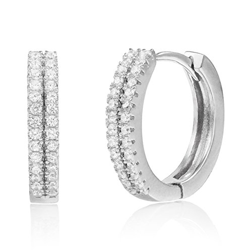 Rhodium Plated Sterling Silver Double Row Cubic Zirconia Huggie Hoop Earrings (Hoop White Double Gold)
