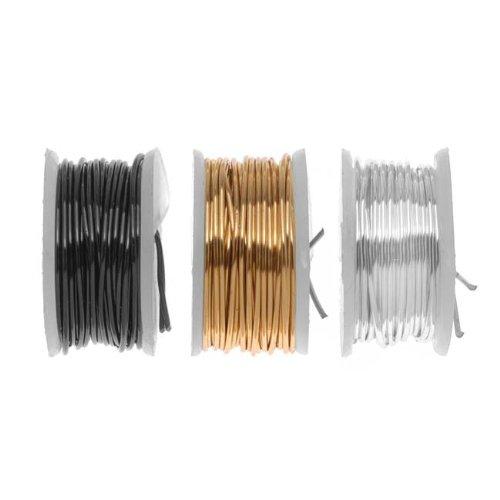 Artistic Wire, 3 Pack Craft Wire Assorted Variety Pack - Silver, Brass, Gun Metal/Hematite 22 GA (15 Yds)