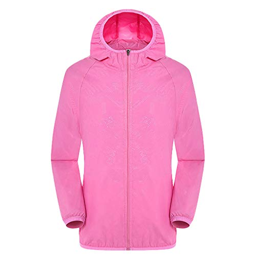 (Men's Breathable Long Sleeve Shirt Zip-up Quick Dry Hooded Top for Outdoor Running Sun Protection Clothing Pink)