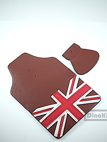 Honey Handmade leather British flag mudguards mud flap set for Brompton Folding Bike - Dino -