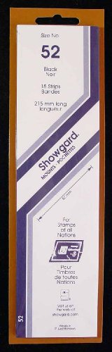 Showgard Strip Style Black Stamp Mounts Size 52 (Strip Stamp)