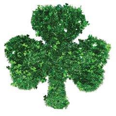 "St. Patrick's Day Shamrock Tinsel Wreath 16"""