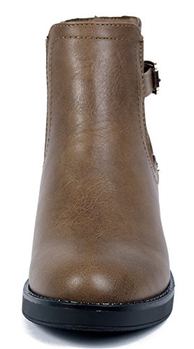 Brown Block Shoes Winter Boots Women Booties Heel Heel AgeeMi Chelsea Ankle Mid Ankle UFp7wpgqx