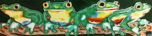 Continental Art Center MD-053 4 by 16-Inch Horizontal Frogs Ceramic Art Tile ()