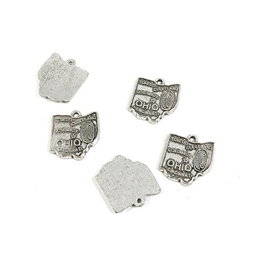 280 x Antique Silver Tone Jewelry Making Charms Findings Handmade Necklace Bracelet Bulk Lots Supplier Supply Crafting N8CT5 Ohio Map Tag