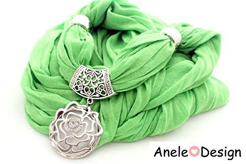 Écharpe foulard bijou - vert rose blanc argente cadeau femme