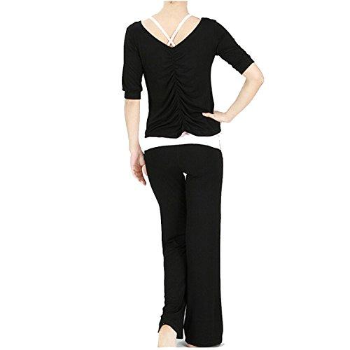 Nanxson(TM) Modal Woman Dance Yoga Workout Suit YDTZW0003 (L, black)