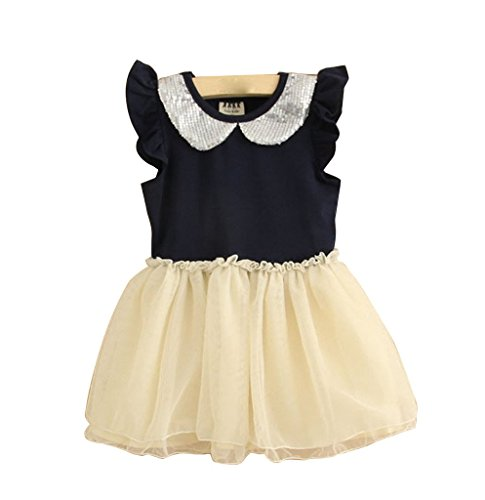 Baby Girls Sequin Peter Pan Collar Tulle Ruffle Sleeve Tutu Dress Princess One Piece