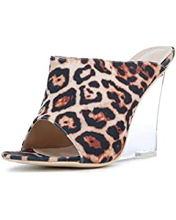 ac648aa0aad CAPE ROBBIN Women s Sexy Transparent Clear PVC Foot Bed Fruit Candy Wedge  Heel Mule