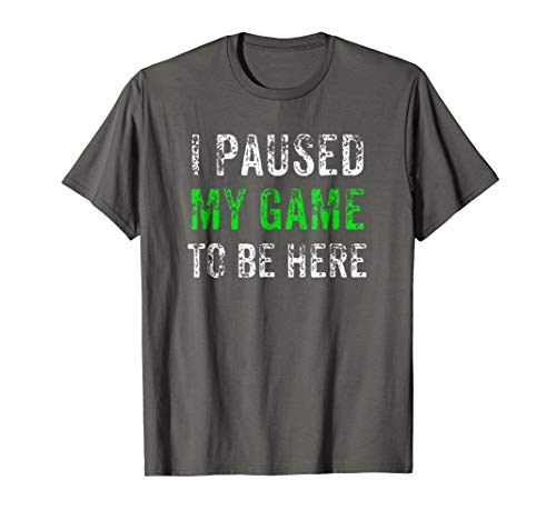 Mens I Paused My Game To Be Here Gaming TShirt Large Asphalt