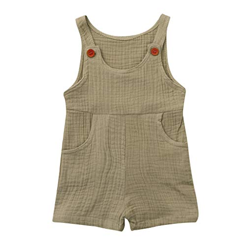 2019 New Baby Sleeveless Solid Candy Color Robes Romper Pockets Button Playsuit Clothes Unisex (80, Khaki)