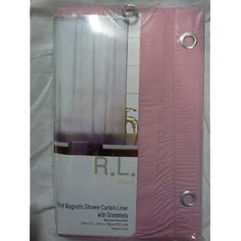 Solid rose pink vinyl shower curtain liner for Plain pink shower curtain