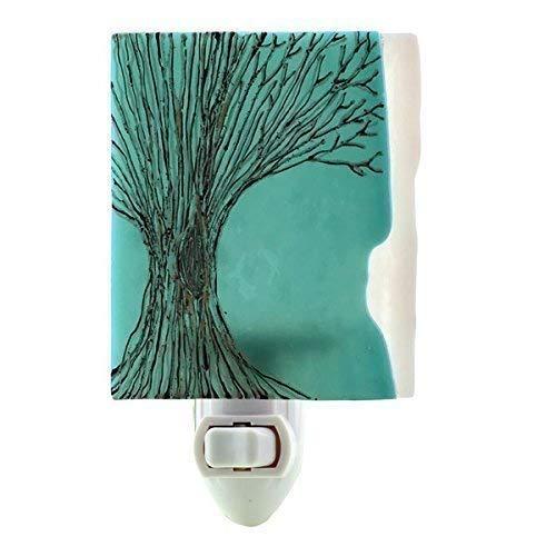 Fused Glass Tree Night Light (Turquoise)