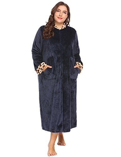 Ekouaer Women's Plus Size Soft Warm Stand Collar Leopard Trim Half Zip-Front Bathrobe Plush Fleece Gown With Pockets,Purplish Blue Navy,24 Plus (Day Robe Dress Front)