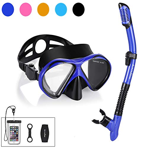 Snorkel Set Snorkeling Gear Package Premium Silicone Dive Mask Snorkel Anti-fog Anti-leak Fit For Adult Kids With Neoprene Mask Strap GoPro Mount For Scuba Diving Freediving Spearfishing Swimmin(blue)
