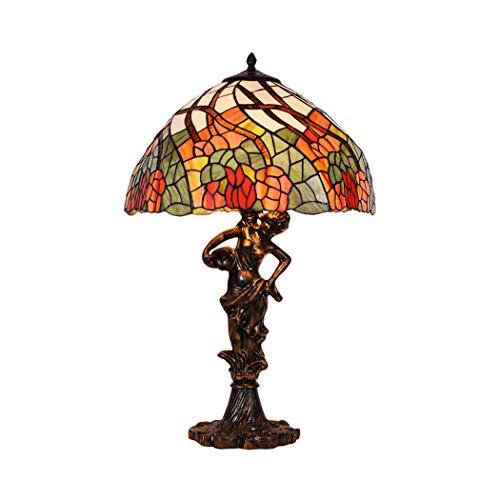 Estilo de Tiffany Lampara de mesa Elegante Diosa Base de resina antigua Escritorio al lado de las lamparas 24 pulgadas de altura 2 luces para mesa de centro Sala