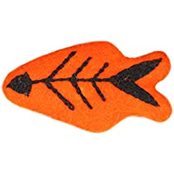 RC Pet Toys Wooly Wonkz Halloween Toy, 100% New Zealand Wool, Fun Interactive Cat and Small Dog Toy, Skeleton Fish