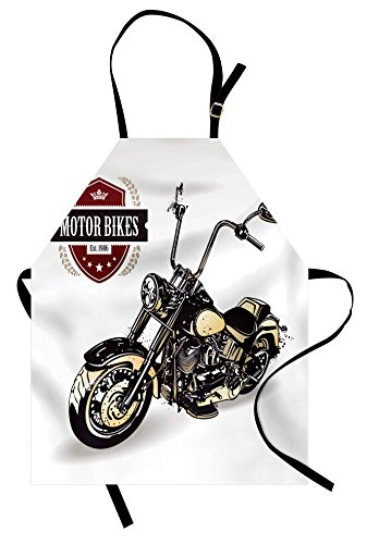 Ambesonne Motorcycle Apron, Chopper Customized Motorcycle with Club Insignia Bikes Hippie Classic Retro, Unisex Kitchen Bib Apron with Adjustable Neck for Cooking Baking Gardening, Black Beige