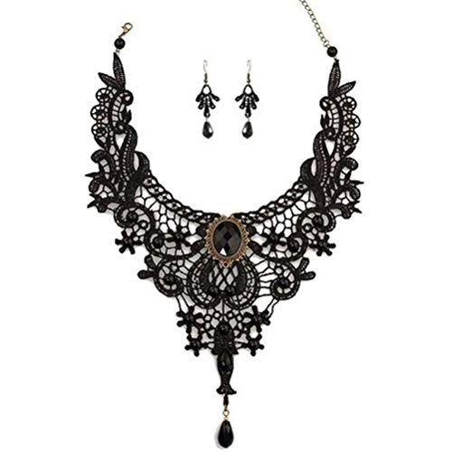 MEiySH Black Lace Gothic Lolita Pendant Choker Necklace Earrings Set (Style 002) ()