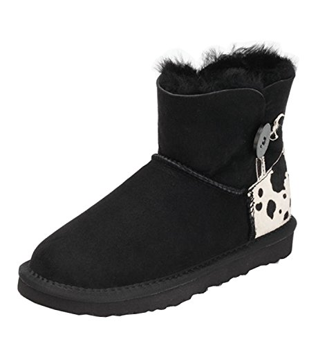 Girls Womens Button Close Round Toe Mid-Calf Winter Snow Boots