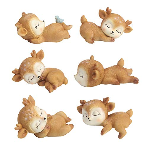 Baby Shower Ornaments (6 Pack Deer Figurines Cake Topper, Woodland Animal Doe Fawn Desktop Decoration Cute Miniature Statue Party Ornaments for Baby Shower Birthday)