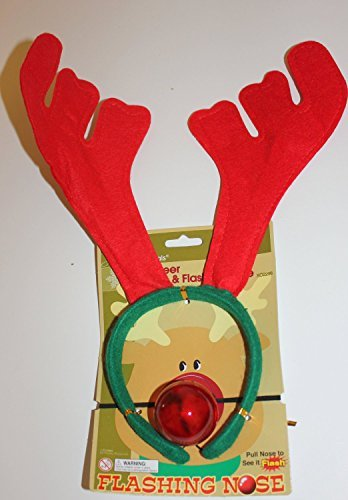 Christmas Reindeer antler Headband & Flashing Light red Rudolph Nose (Single)