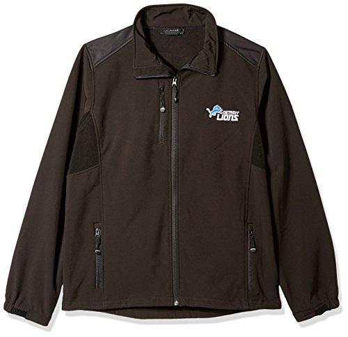 NFLデトロイトライオンズメンズソフトシェルジャケット、XL、ブラック