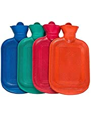 SharpointHome 2 Pack 500Ml/1000Ml Rubber Hot Water Bag Water Filling Safe Anti-Scalding Hot Water Bags Random Color