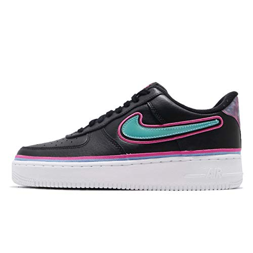 (Nike Men's Air Force 1 07 LV8 Sport, Black/Blue Gale-Laser Fuchsia, 10.5 M)