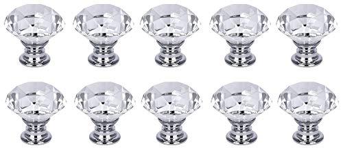 NVTED 10 PCS Cabinet Knobs Drawer Pulls, Diamond Shape Crystal Glass Drawer Cabinet Pull Knob Handle Kitchen Door Wardrobe Hardware
