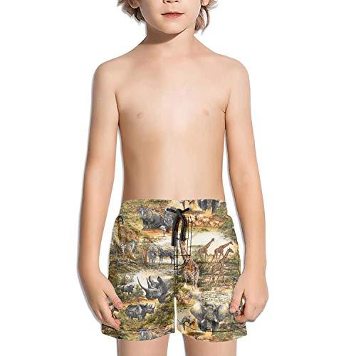 Lenard Hughes Boys Quick Dry Beach Shorts Pockets Africa Wild Elephant Giraffe Rhinoceros Swim Trunks Summer by Lenard Hughes