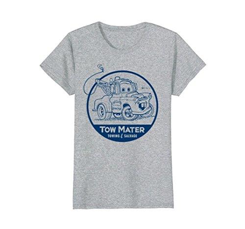 Womens Disney Pixar Cars Tow Mater Salvage Badge Graphic T-Shirt Medium Heather Grey -