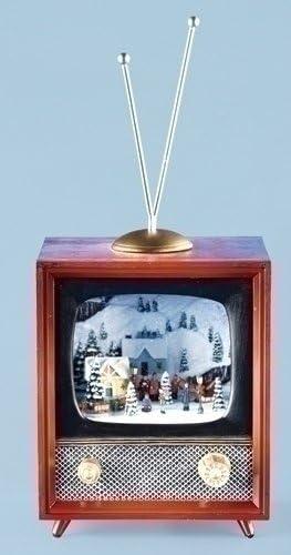 9,5 iluminado Retro Musical televisor con dibujos de Navidad Village escena: Amazon.es: Hogar