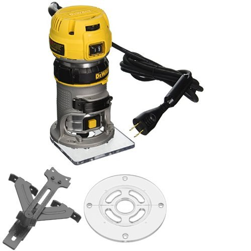 DEWALT DWP611 1.25 HP Max Torque Variable Speed Compact Router with LEDs with Edge Guide and Round Sub Base